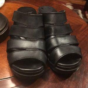 Dansko Black Slip On Clog Sandal Sz 37